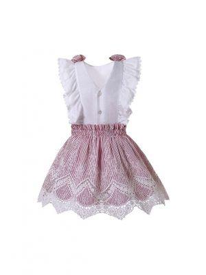 Girls Sleeveless Shirt & Pink Skirt Set + Handmade Headband