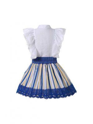 Girls White Shirt + Blue Lace Skirt 2-Piece Summer Clothes Set