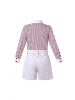 2-Piece Boys Long Sleeve Red Striped Shirt + White Shorts