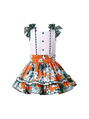 Girls Summer Skirt + White Sleeveless Top + Handmade Headband