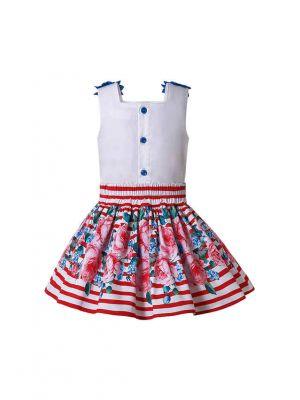 Flower Patterns Pink striped Girl Skirt and Top + Handmade Headband