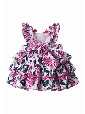 Baby Pink Floral Patterns Dress Set + Handmade Headband