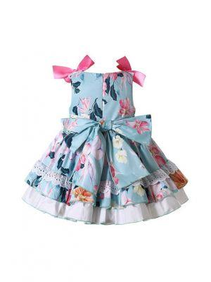 Baby Light Blue Lace Ruffle Dress + Handmade Headband