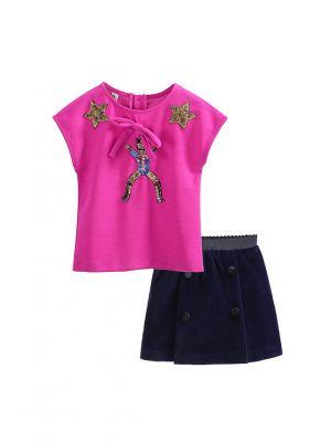 Girl Clothing Sets Hot Pink Top +Navy Casual Skirt