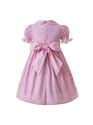 (PRE-ORDER)Pink Party Girls Doll Collar Handmade Embroidered Smocked Dresses