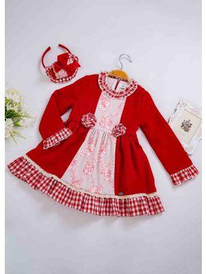 New Red Stereoscopic Flower Gird Girls Vintage Dress