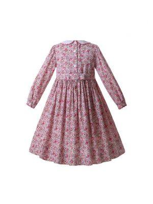Pink Doll Collar Smocked Girls Dress