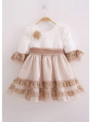 Wedding Flower Mesh Lovely Spring Ceremony Dot Lace Girl Communion Dress