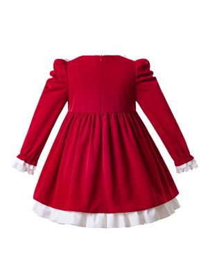 Girl Dress Lace Red Long Sleeve Dress