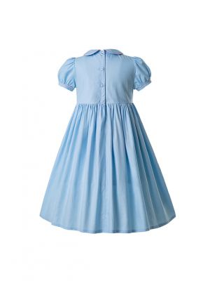 Blue Doll Collar Smocked  Button  Dress