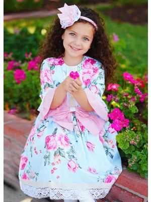 Birthday Boutique Kids Blue Flower lace Printed Bows Girl Dress With Headband