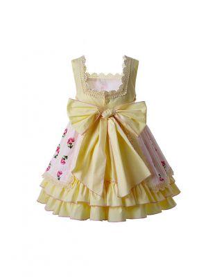 Newest Easter Yellow  Flower Pattern Long Dress