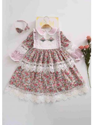 (Only 2Y 3Y 4Y)Birthday Boutique Doll Collar Flower Printed Lace Embroidery Dress With Headband