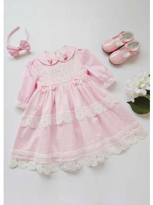 Wedding Party Lace Communion Pink Dot Flower Girl Long Dress With Headband