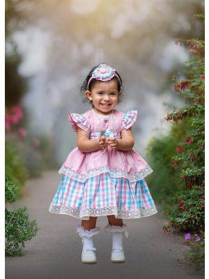 Summer Grid Heart-shaped Hollow Sleeveless Flowers & Bow  Girls Dress With Headband