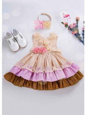 Beige Wedding Summer Pink Flower Lovely Girls Dress With Headband