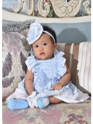Bule Summer Party Wedding Party Baby Dress Sky Blue Dresses With Bows Kids Clothing + Handmade Headband