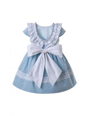 Light Blue Baby Girls Outfit With Headwear