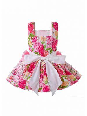 Flower Printed With Bows Summer   Vivid Girls Dress + Handmade Headband