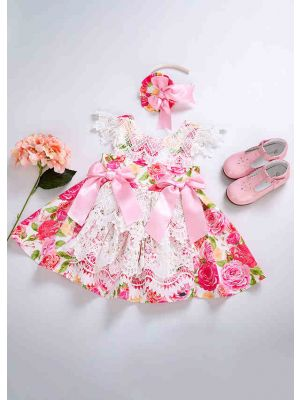New Princess Flower With Pink Bows Summer Lace Girl Dress + Handmade Headband