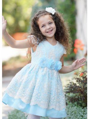 Girls Summer Dress Sky Blue Princess Dresses For Girlsss With Layered Lace + Handmade Headband
