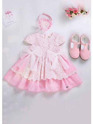 Pink Girls Summer Dress With White Layered Lace + Handmade Headband