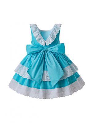 Girls Summer White Flower Blue Sleeveless Party Dress + Handmade Headband