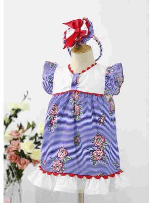 Baby Blue Summer Printed Ruffled Dress Toddler Puff Sleeve Festival Dress + Handmade Headband