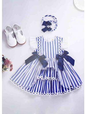 Girls Summer Flower Lace Stripe Party Dresses + Handmade Headband
