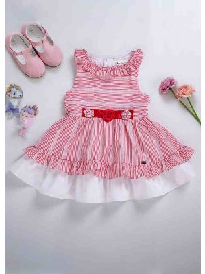 (Only Size 6Y) Summer Red Stripe Girls  Sleeveless With Cute Flowers Kids Dress + Handmade Headband