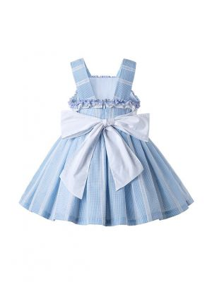 Light Blue Summer Girls Ruffles Girls Boutique Dress + Hand Headband
