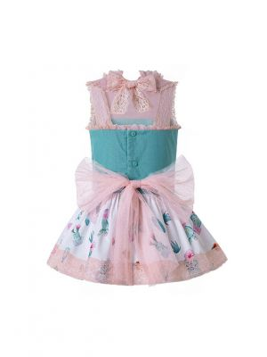 Light Pink Pattern Printed Lolita Style Princess Dress +Hand Headband