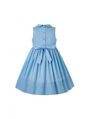 2020 Vintage Blue Ruffled Turn-down Collar Smoked Dress