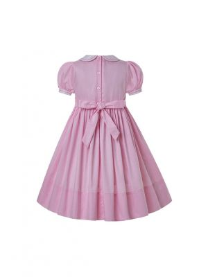 Girls Pink Rose Hand Embroidery Doll collar Smocked Dresses