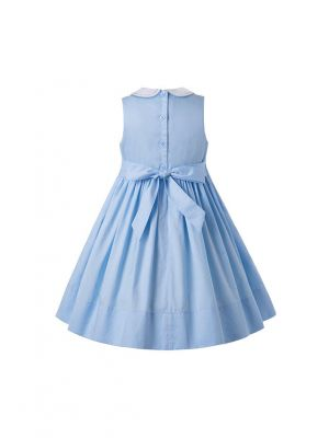 Blue Sleeveless Flower Embroidery Children Smocked Dresses