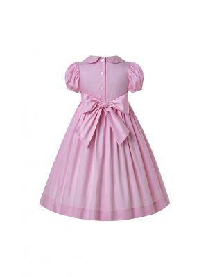 Light Pink Short Sleeves Smocking Dress