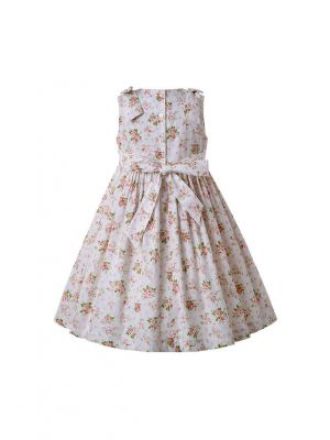 Floral Smocking Pleated Dress