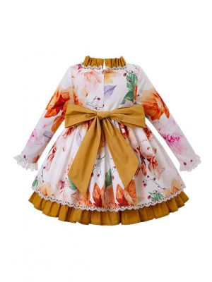 2 Pieces Of 3D Three-Dimensional Printed Cotton Girls Autumn Suit +Handmade Headwear