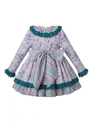 Girls Autumn Pink & White Floral Lace Dress + Handmade Headwear