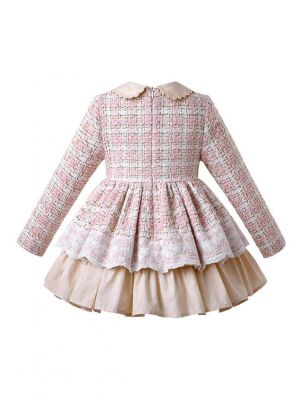 Girls Autumn Small Fragrance Woven Fabric Dress + Handmade Headwear