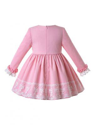 Girls Autumn Pink Lace Cuffs Kids Princess Dresses With Layered Lace + Hand Headband