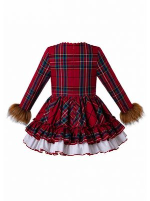 2019 Christmas Red Grid Vintage FauxFur Sleeve Girl Dress + Hand Headband