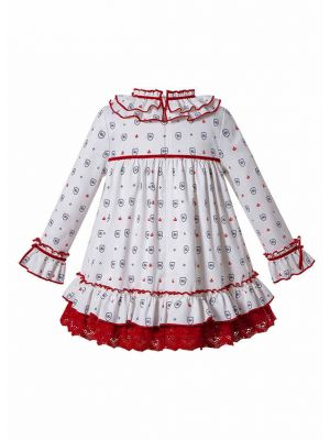 Autumn  White Print Children Elegant Girl Dress + Hand Headband
