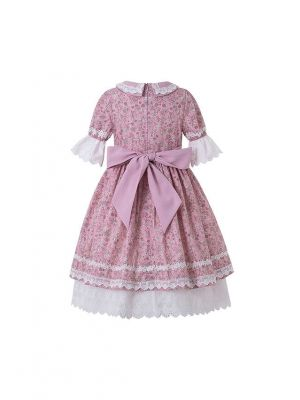 Pink Flower Printed Embroidered Doll Collar Dress + Hand Headband