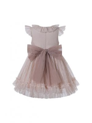 Beige Double-layered Floral Yarn Dyed Princess Boutique Girls Dress + Hand Headband