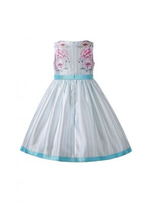 New Summer Mint color Floral Pattern Sleeveless Vertical Stripes Girls Dress