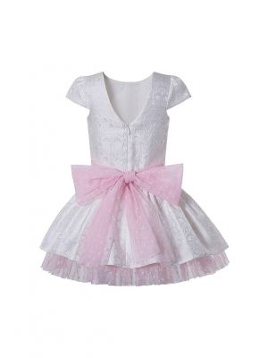 White Girls Summer Sweet Dresses with Pink Chiffon +Pink Chiffon Bows + Headband