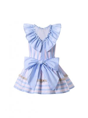 Girls Double-layered Striped Ruffle Boutique Dress With Bows + Hand Headband