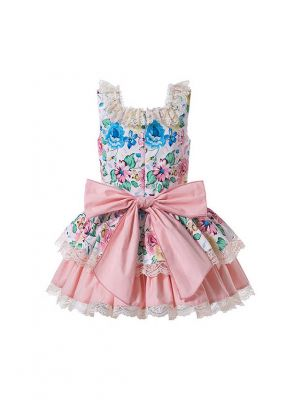 Sweet Summer Princess Lace Flower-printed Bows Princess Dress + Hand Headband