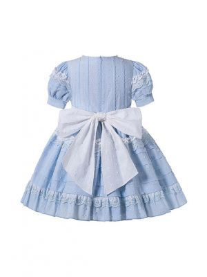 Princess Light Blue Lace England Style Folds Girls Dress with Bow + Headband
